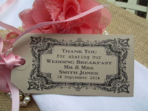 10 Personalized Wedding Breakfast Table Napkin Tie Place Setting Tag 108 x 54mm